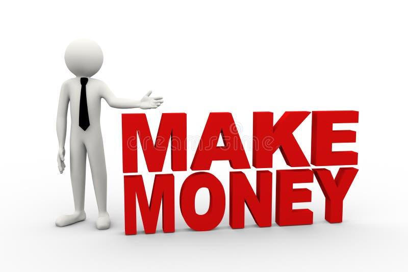 o homem de negócios 3d com palavra faz o dinheiro ilustração do vetor