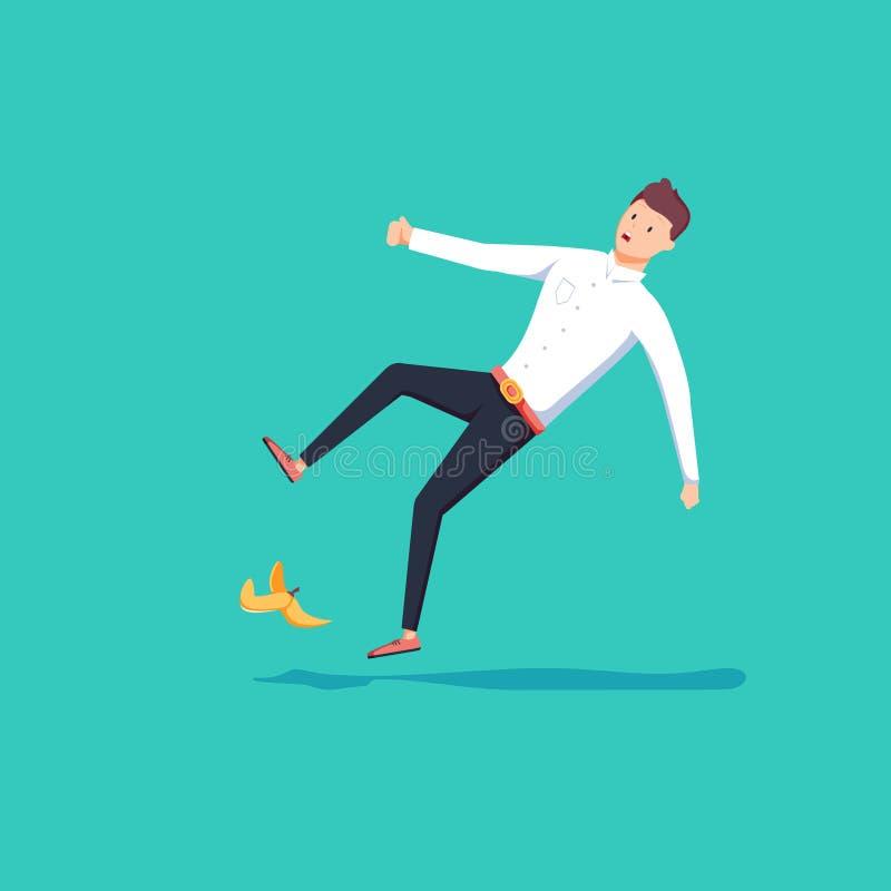 O homem de negócios 3d isométrico liso deslizou em uma casca da banana Conceito do acidente do negócio ilustração stock