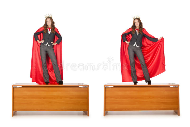 O homem de negócios da rainha que está na mesa fotografia de stock royalty free