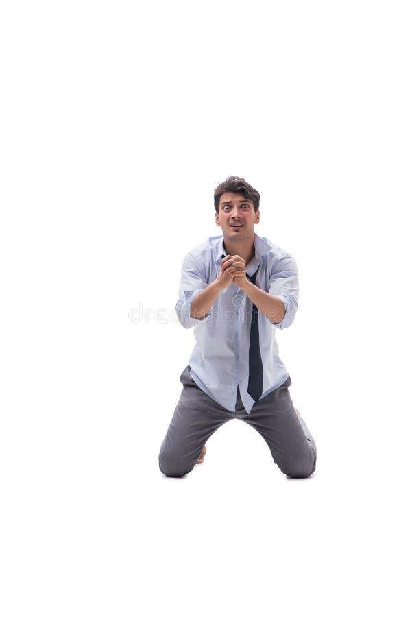 O homem de negócios descalço isolado no fundo branco fotos de stock