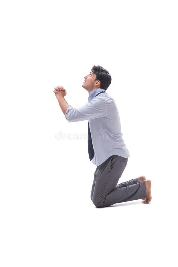O homem de negócios descalço isolado no fundo branco imagens de stock