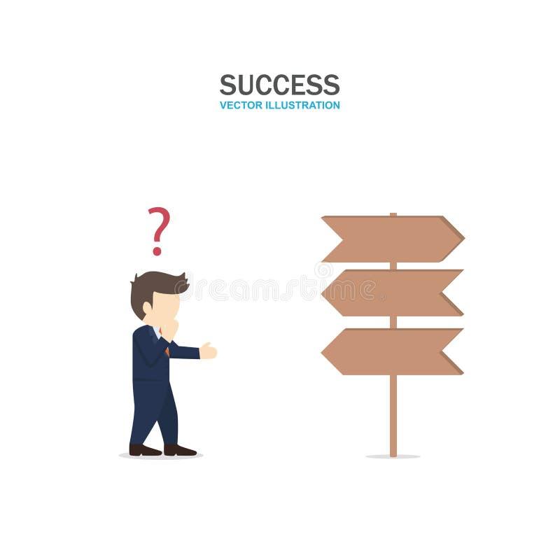 O homem de negócios deve confundir que maneira de ir ilustração stock