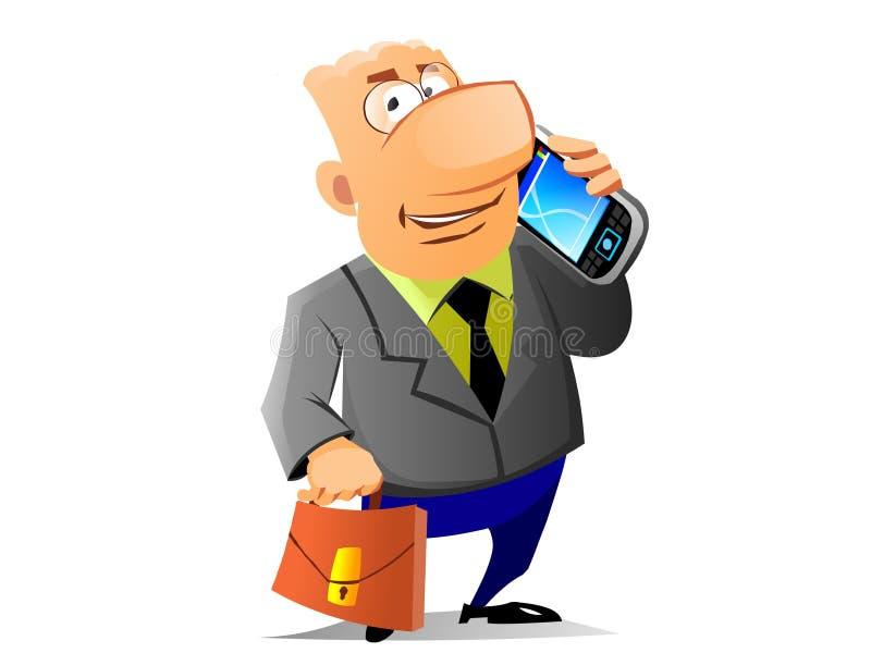 O homem de negócios disse pelo telefone móvel ilustração royalty free