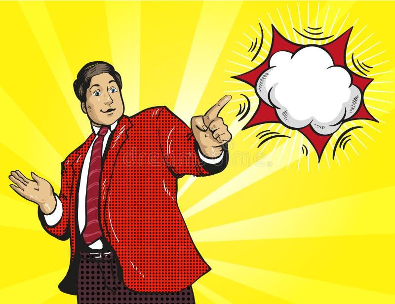 O homem de negócios do homem da reação do wow surpreendeu o pop art cômico retro ilustração royalty free