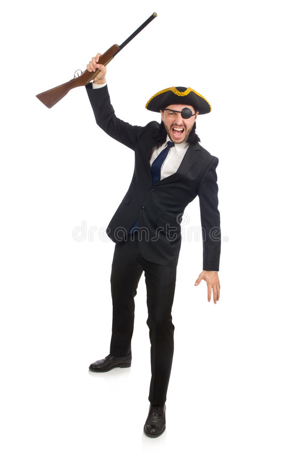 O homem de negócios do pirata que mantém a arma isolada no branco imagens de stock