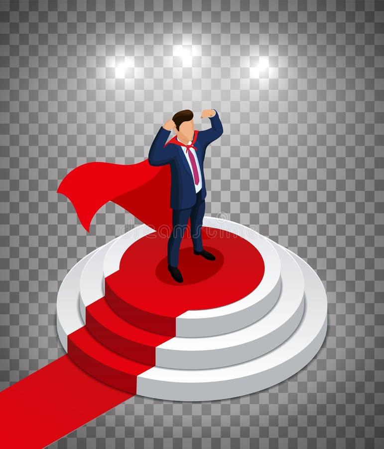 O homem de negócios do super-herói está em um pódio redondo com um tapete vermelho Cerim?nia de concess?o Ilustra??o Editable do  ilustração stock