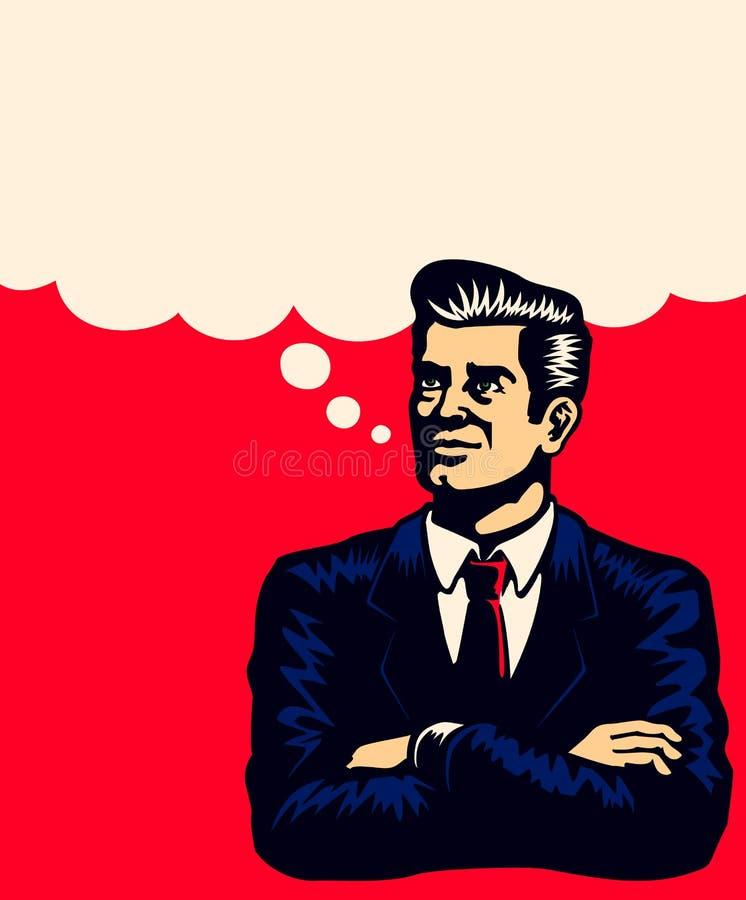 O homem de negócios do vintage que pensa com braços dobrou a ilustração do vetor ilustração do vetor