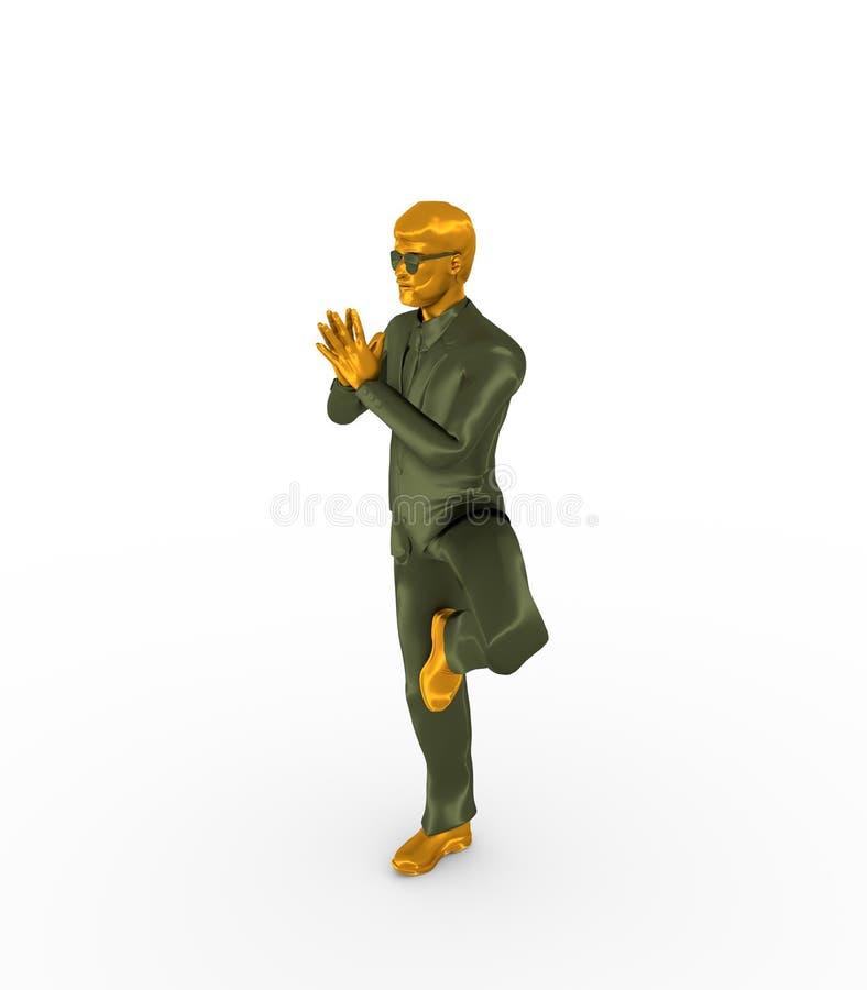 O homem de negócios dobrou suas mãos na oração ilustração stock