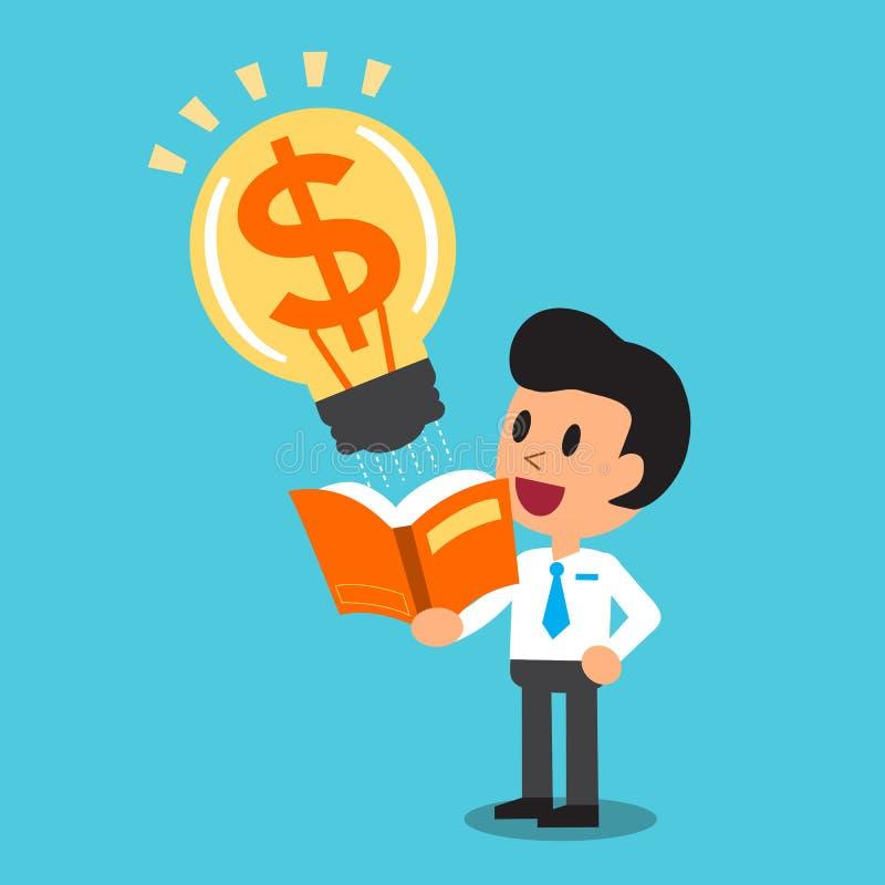 O homem de negócios dos desenhos animados abre um livro que tenha a ideia grande do dinheiro ilustração royalty free