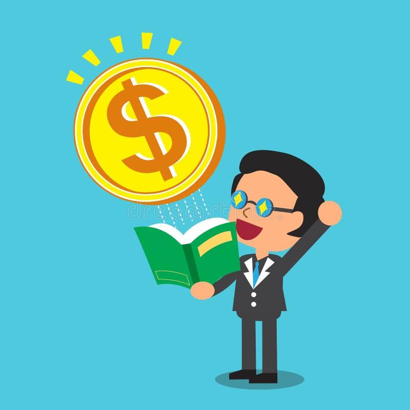 O homem de negócios dos desenhos animados abre um livro que tenha a moeda grande do dinheiro ilustração stock