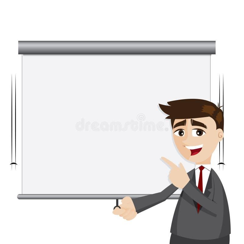 O homem de negócios dos desenhos animados puxa para baixo a placa da apresentação ilustração do vetor