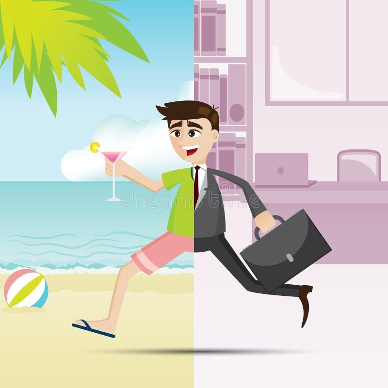 O homem de negócios dos desenhos animados relaxa em horas de verão ilustração do vetor