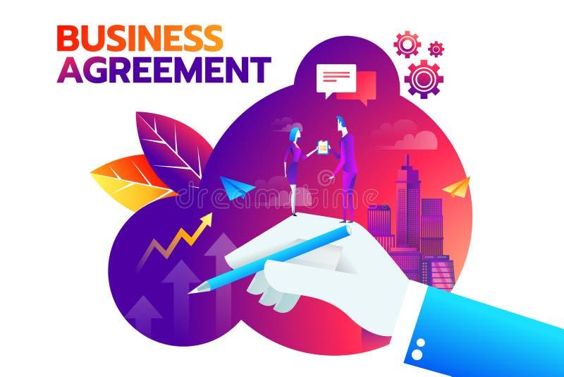 O homem de negócios e a mulher de negócios que agitam a mão e concordam assinar o contrato após a discussão bem sucedida do negóc ilustração royalty free