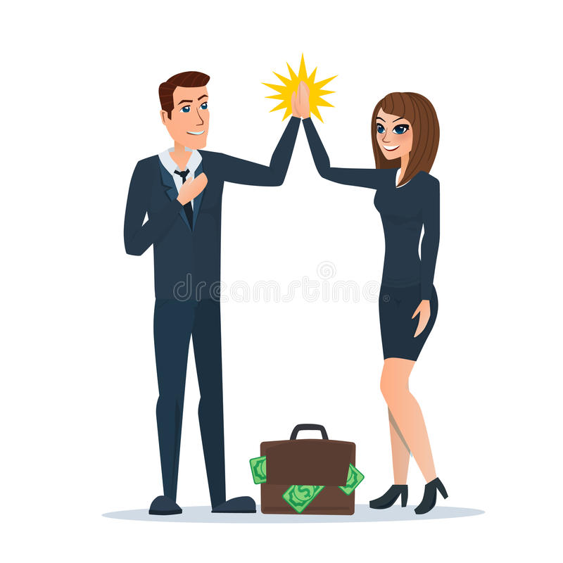 O homem de negócios e a mulher que aplaudem entregam-se na parceria ilustração royalty free