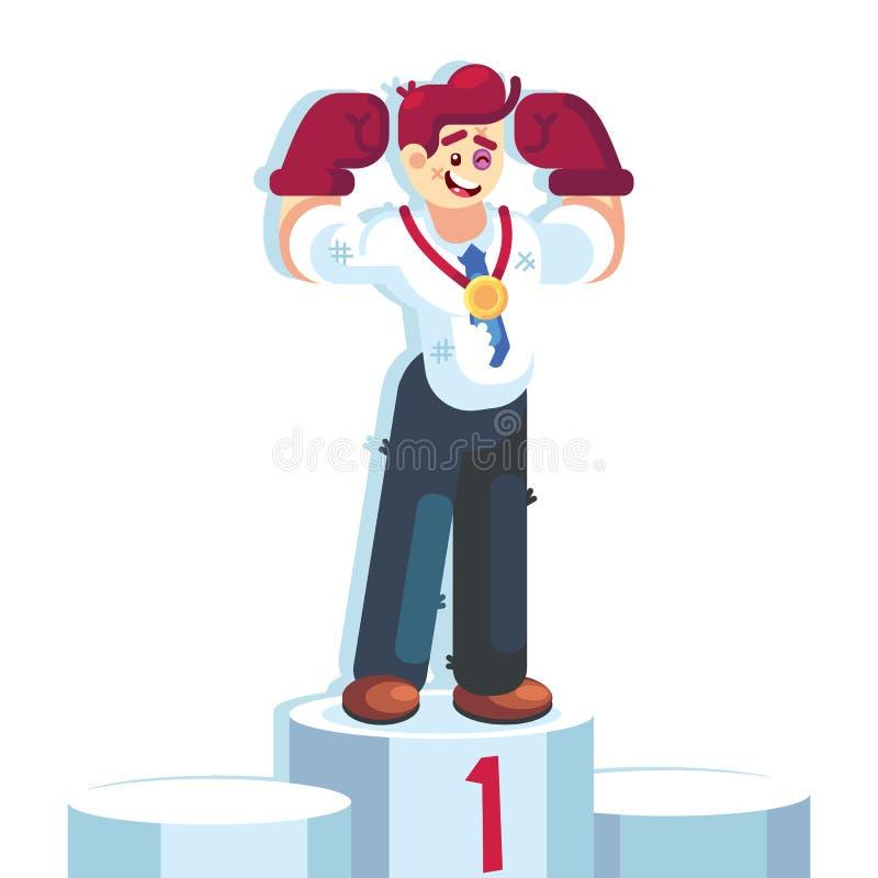 O homem de negócios em luvas de encaixotamento ganhou a luta e a medalha vestindo do campeonato no pódio do número um nenhuma dor ilustração royalty free