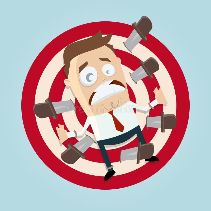 O homem de negócios engraçado é alvo de jogo da faca ilustração do vetor