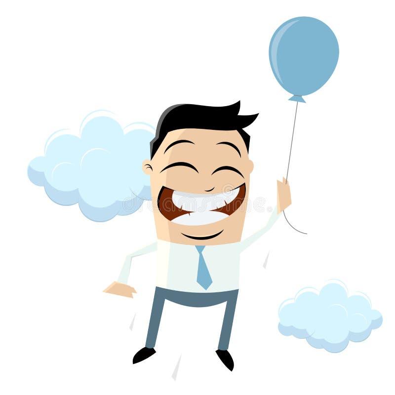 O homem de negócios engraçado está voando com balão de ar ilustração stock