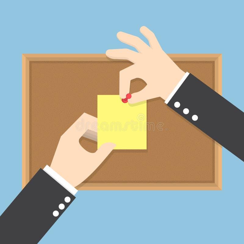 O homem de negócios entrega a pino notas pegajosas no quadro de mensagens da cortiça ilustração do vetor