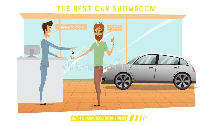 O homem de negócios era carro caro da compra no auto-salão de beleza ilustração stock