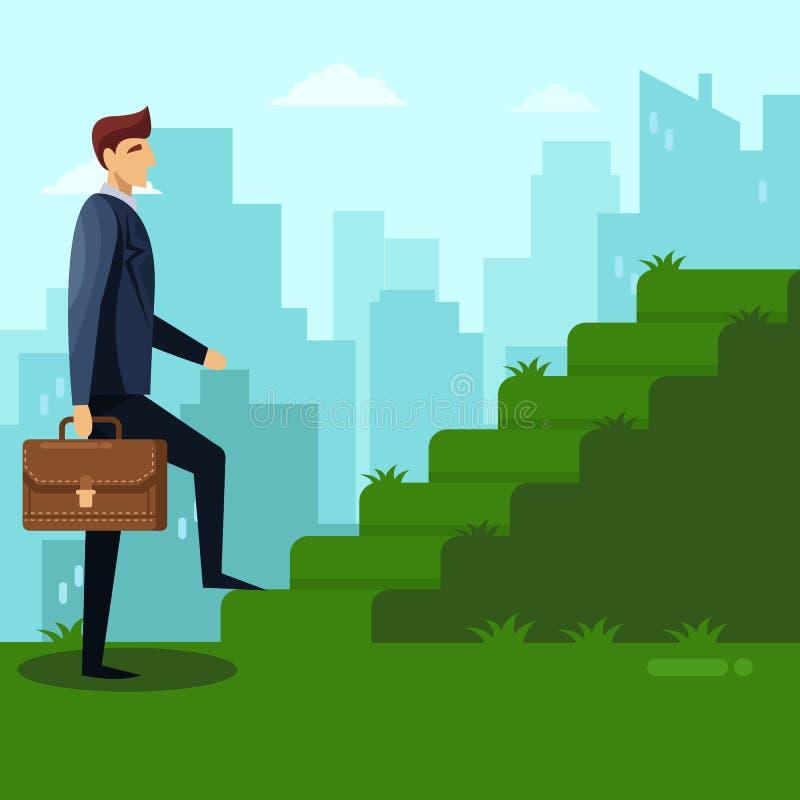 O homem de negócios escala as escadas da grama verde Carreira, trabalho e conceito do negócio do sucesso Ilustração lisa do vetor ilustração royalty free