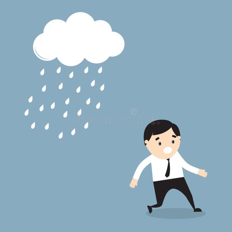 O homem de negócios escapa da chuva ilustração royalty free