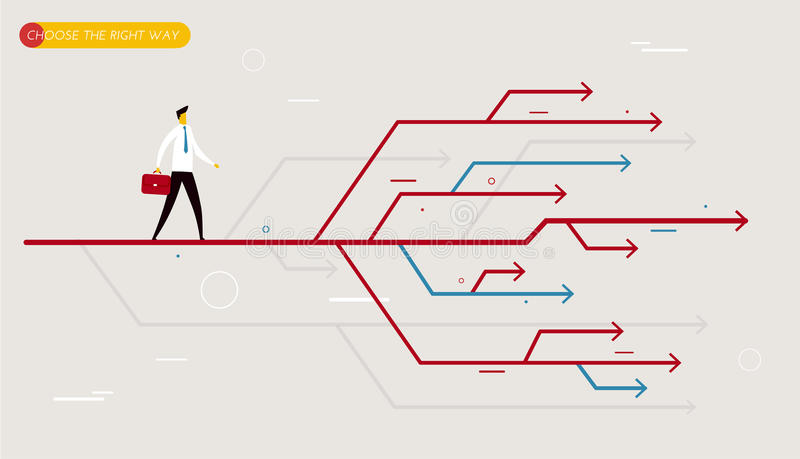 O homem de negócios escolhe o trajeto direito ilustração do vetor