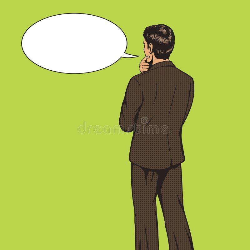 O homem de negócios escolhe o vetor do estilo do pop art ilustração stock