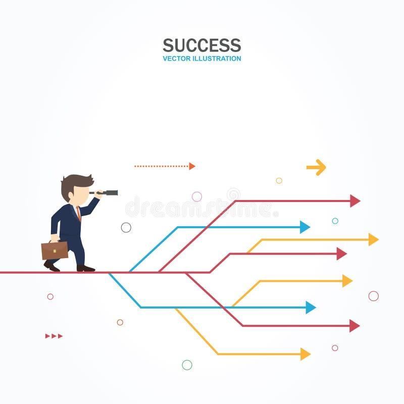 O homem de negócios escolhe o trajeto direito ilustração stock