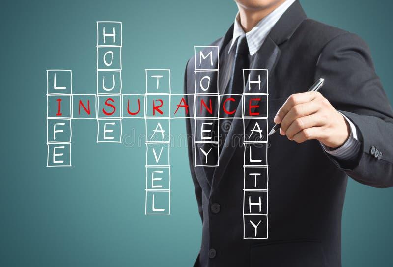 O homem de negócios escreve o conceito do seguro foto de stock royalty free