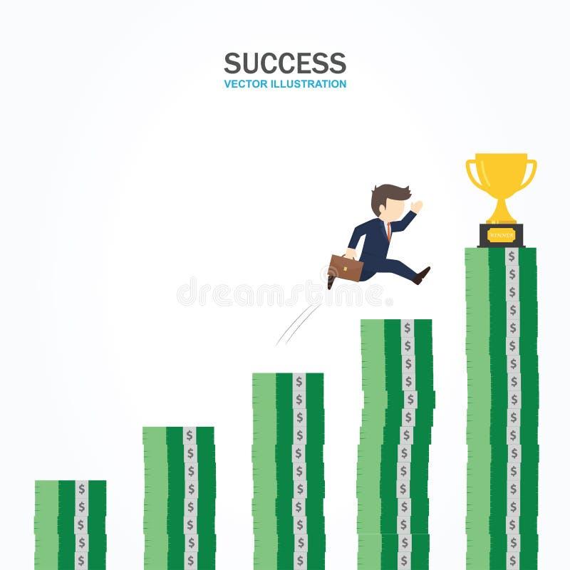 O homem de negócios está correndo em direção ao troféu no conceito o mais alto do sucesso do cargo do dinheiro ilustração royalty free