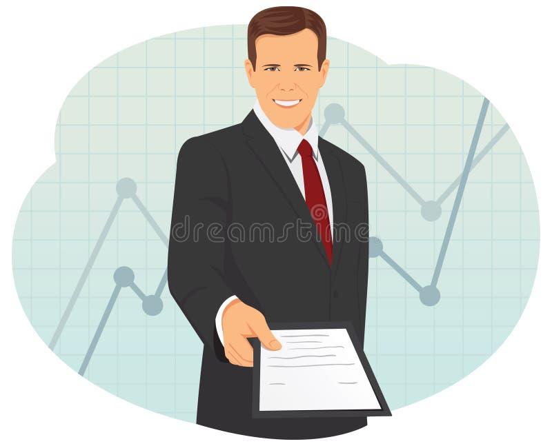 O homem de negócios está dando um contrato ilustração royalty free