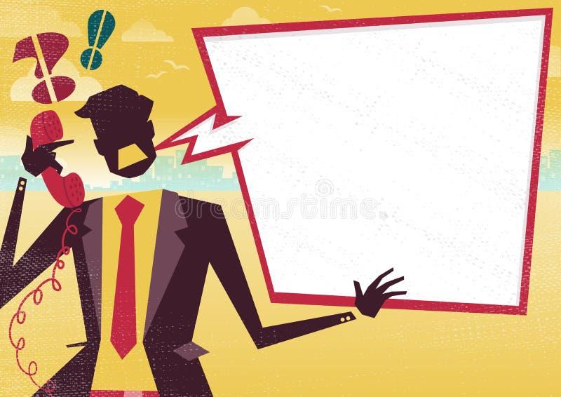 O homem de negócios está irritado no telefone com grande bolha do discurso ilustração stock