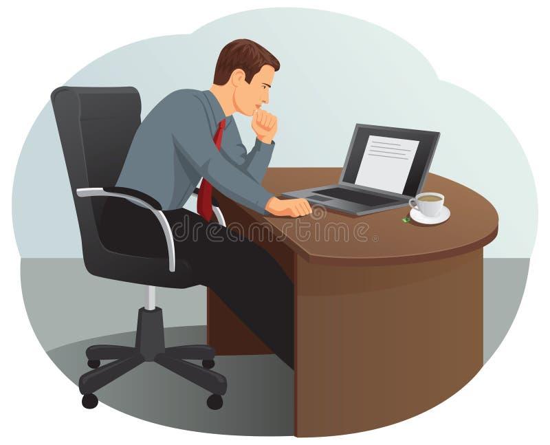 O homem de negócios está olhando o portátil ilustração do vetor