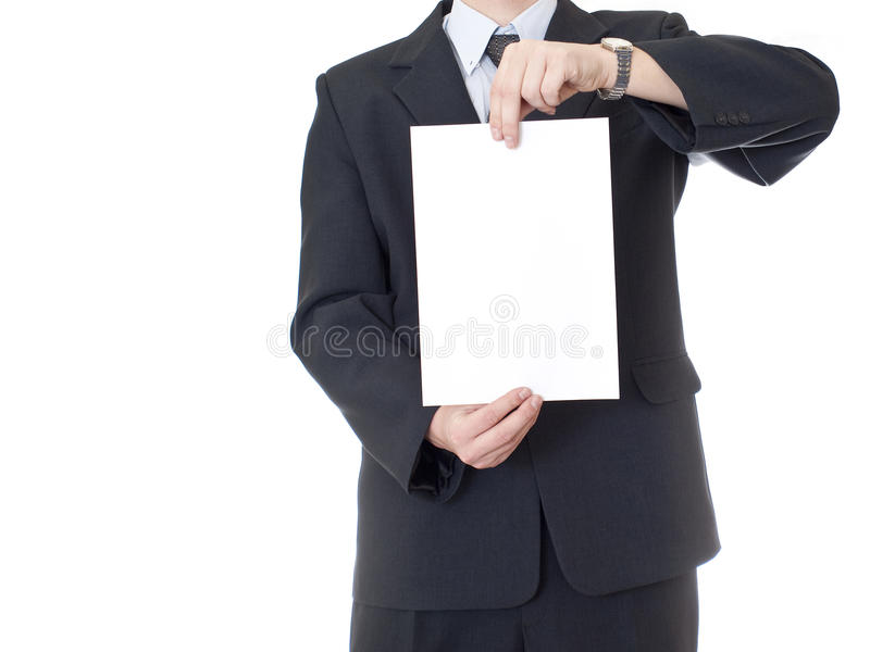 O homem de negócios está prendendo a folha de papel desobstruída fotos de stock royalty free