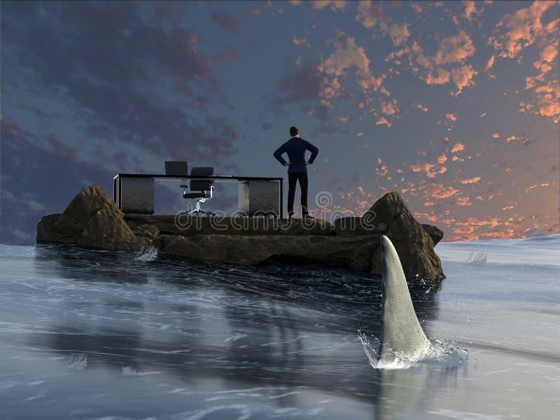 O homem de negócios está sendo desengaçado por um tubarão imagem de stock royalty free