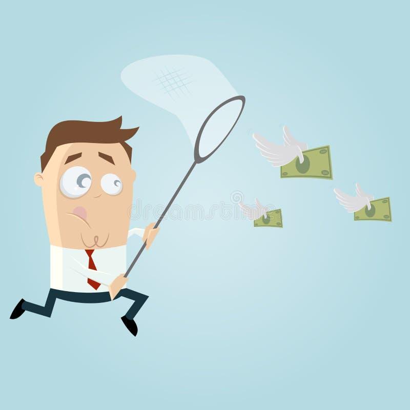 O homem de negócios está tentando travar o dinheiro ilustração royalty free