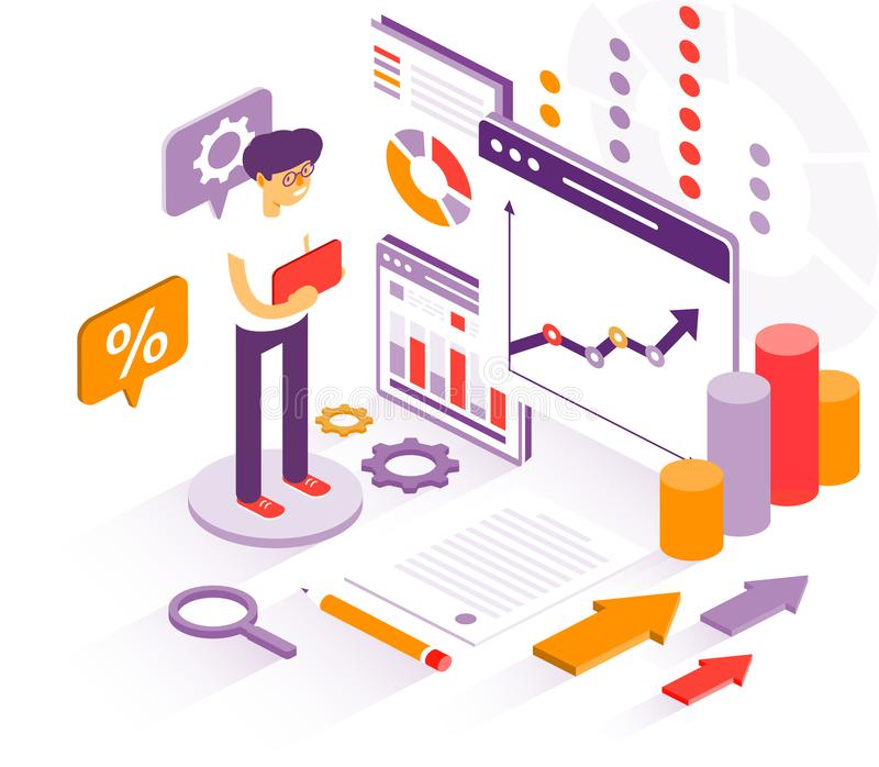 O homem de negócios estuda gráficos para o informe anual Gráficos dos estudos do homem de negócios ilustração stock