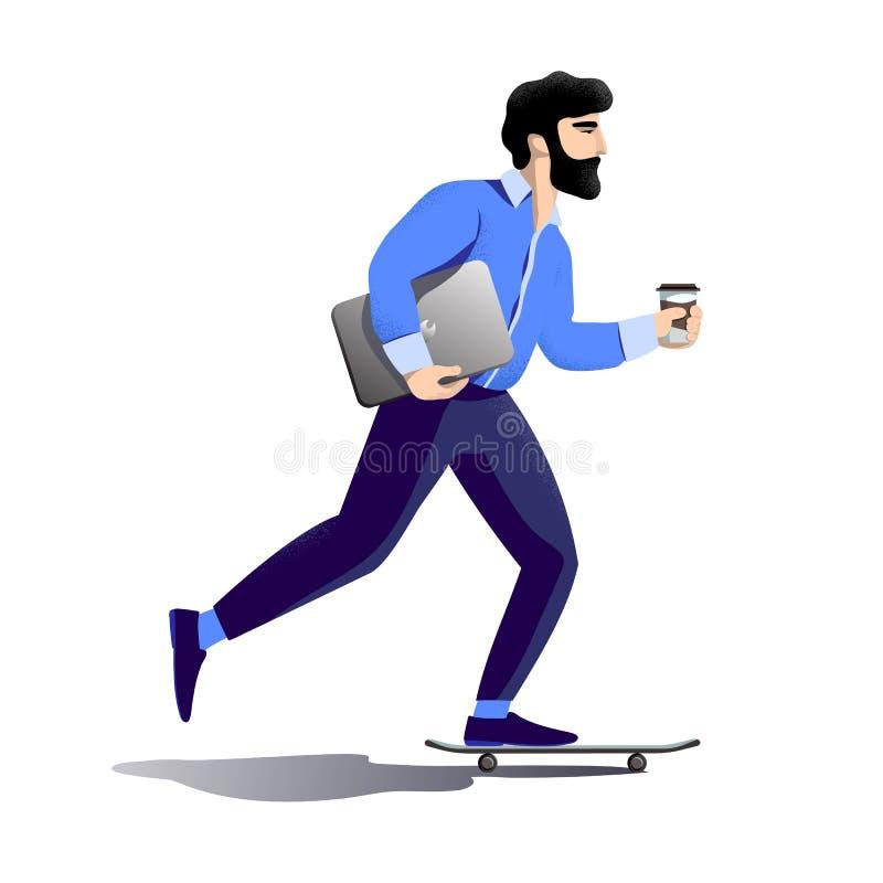 O homem de negócios farpado do moderno apressa-se ao escritório Passeios no skate portátil sob seu braço, café na outra mão ilustração stock