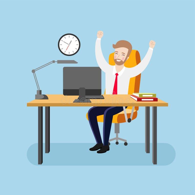 O homem de negócios feliz no escritório com os braços aumentados exulta o sucesso ilustração do vetor