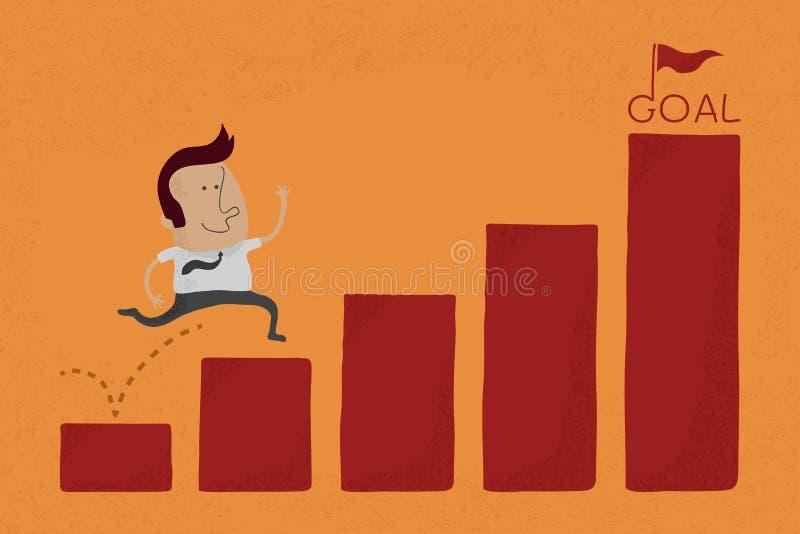 O homem de negócios feliz salta sobre o stat do gráfico ao objetivo ilustração do vetor