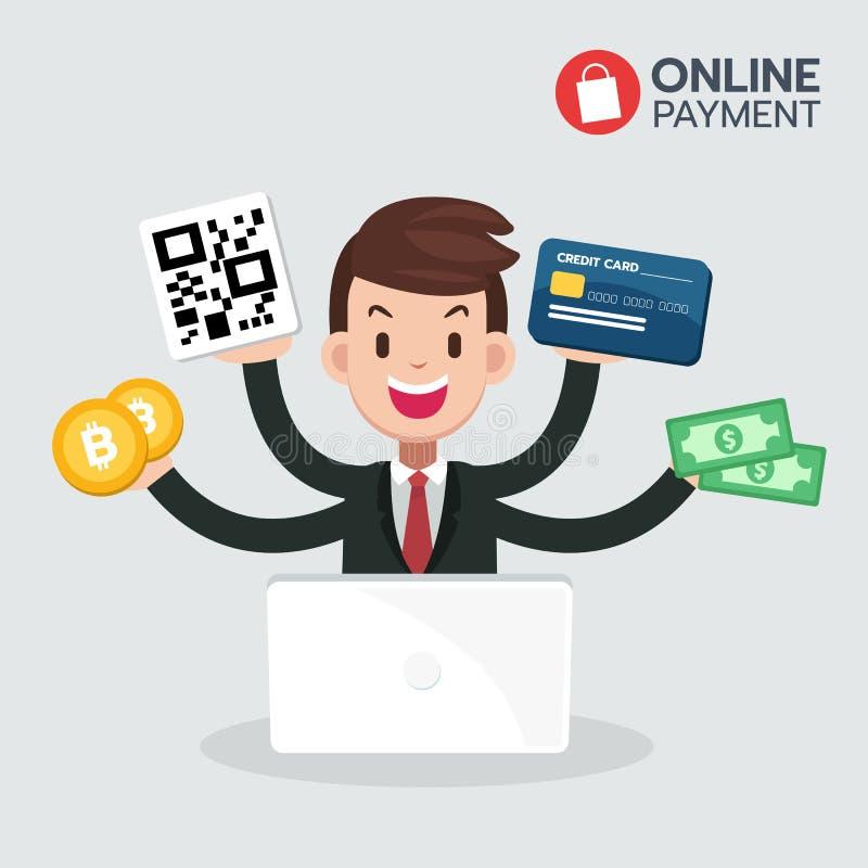 O homem de negócios feliz senta-se no computador dianteiro Canal em linha do pagamento ilustração do vetor