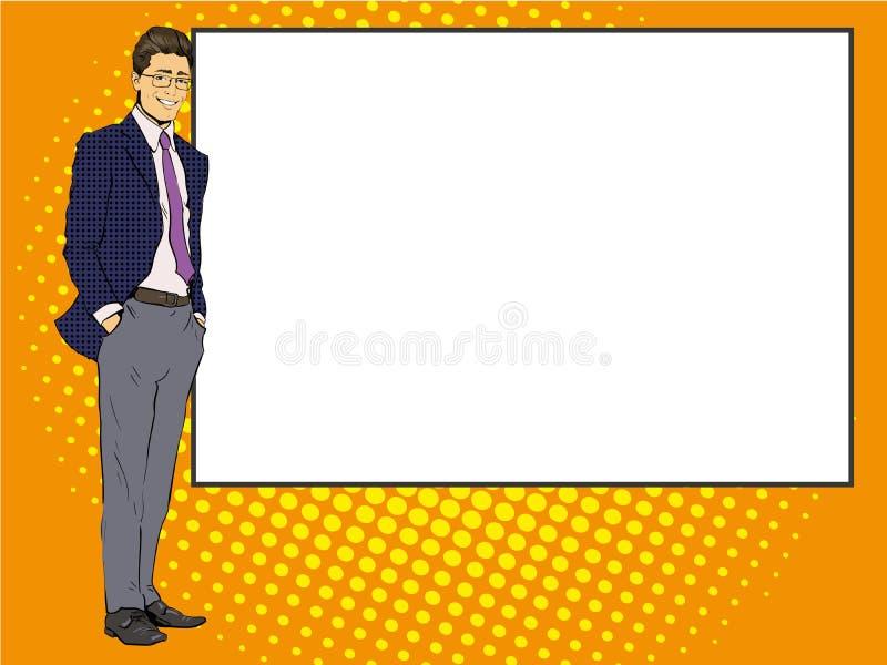 O homem de negócios fica ao lado da placa branca vazia Ilustração retro do vetor do estilo da banda desenhada do pop art Põe seu  ilustração stock