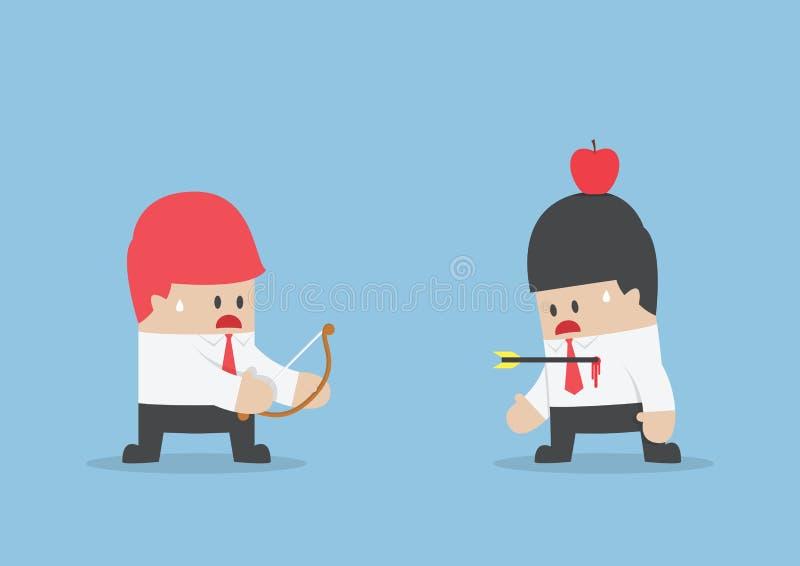 O homem de negócios foi chocado quando a seta faltou o alvo ilustração do vetor