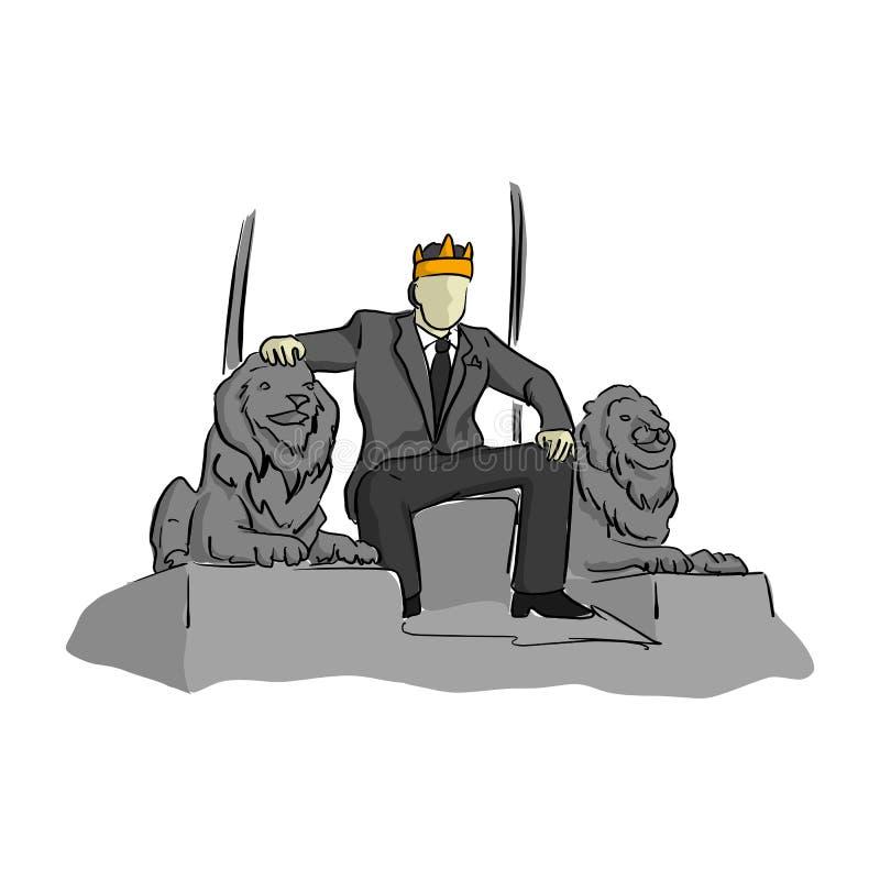 O homem de negócios gosta de um rei que senta-se no illustrat do vetor da cadeira do trono ilustração stock