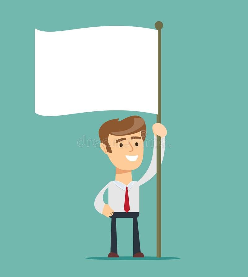 O homem de negócios guarda a bandeira branca da rendição Mão que guarda a bandeira vazia Ilustração lisa do vetor do estilo ilustração stock
