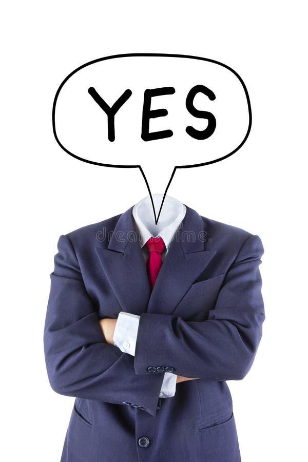 O homem de negócios invisível diz sim imagem de stock