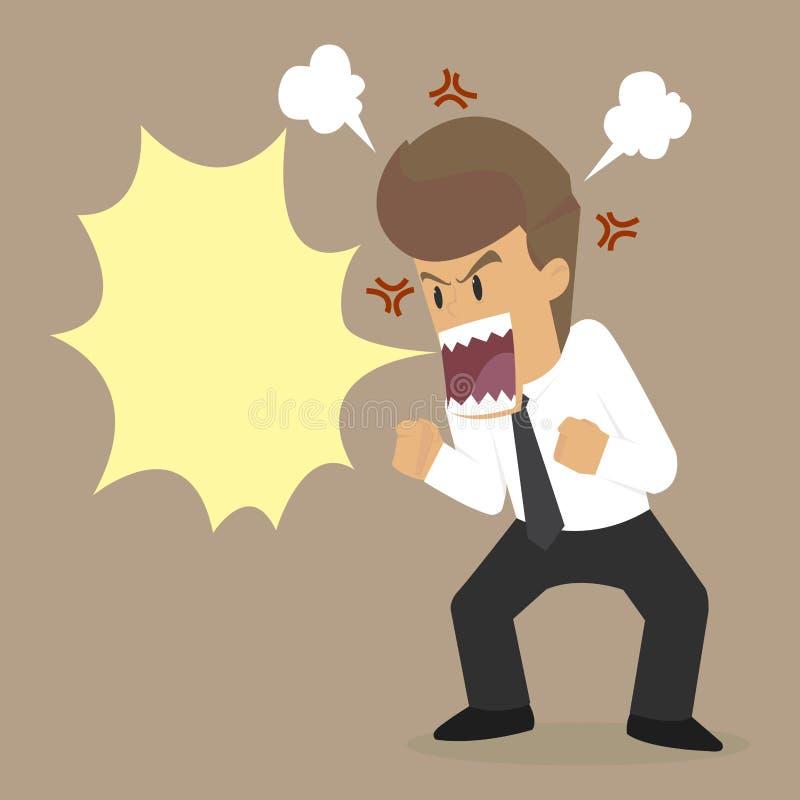 O homem de negócios irritado, grita louco ilustração royalty free