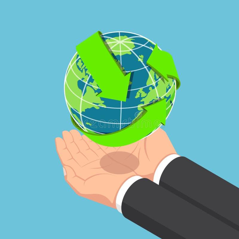 O homem de negócios isométrico entrega guardar o mundo com recicla a seta ilustração stock