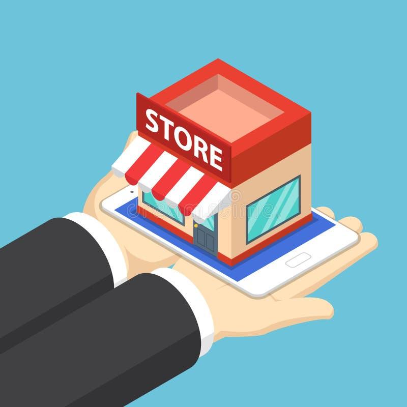 O homem de negócios isométrico entrega guardar a tabuleta com loja da compra ilustração stock