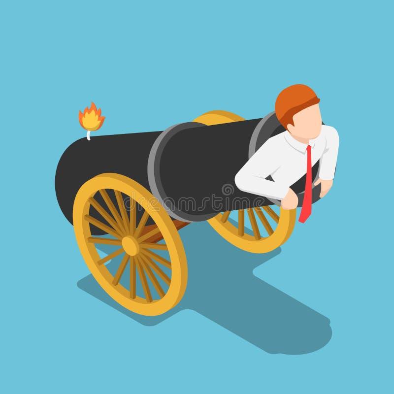 O homem de negócios isométrico está no canhão e apronta-se para começar ilustração royalty free